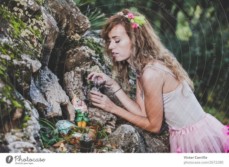 A Young Woman Standing in the Woods Lifestyle Shopping Elegant Style Design Exotic Joy Human being Feminine Young woman Youth (Young adults) Adults 1