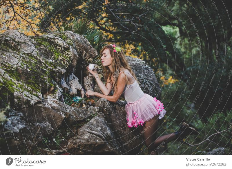 A Young colorful Woman having a tea in the woods Lifestyle Beautiful Human being Feminine Young woman Youth (Young adults) Adults 1 18 - 30 years Culture