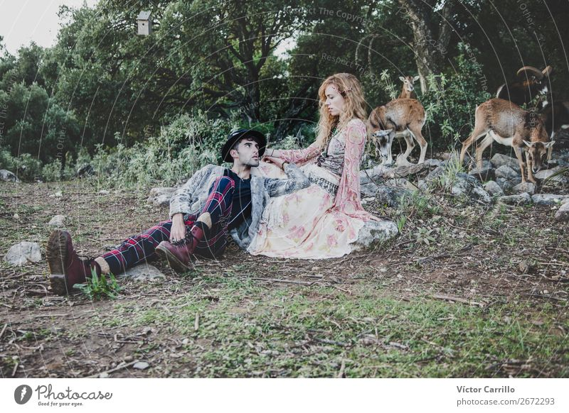 A Couple Standing in the Woods Lifestyle Shopping Elegant Style Human being Masculine Feminine Young woman Youth (Young adults) Young man Woman Adults Man
