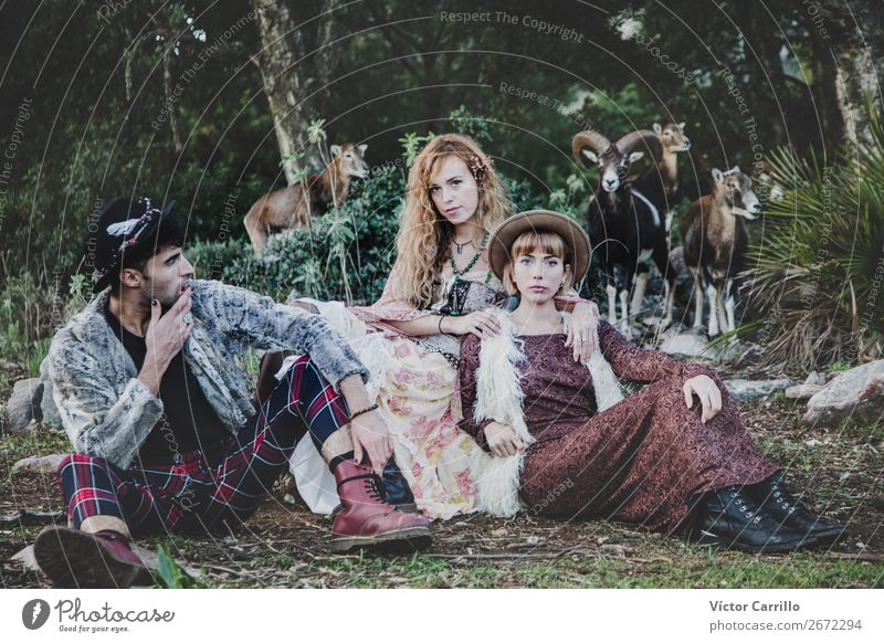 A group of Friends Standing in the Woods Lifestyle Shopping Luxury Style Design Exotic Human being Young woman Youth (Young adults) Young man Woman Adults Man