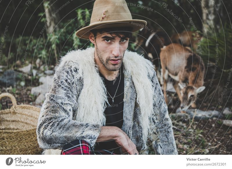 A Young Man standing in the woods Lifestyle Elegant Style Design Exotic Human being Masculine Androgynous Young man Youth (Young adults) Adults Face 1