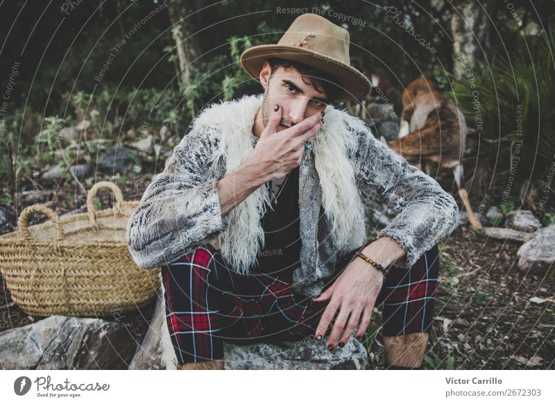 A Young Man standing in the woods Human being Masculine Androgynous Young man Youth (Young adults) 1 18 - 30 years Adults Environment Nature Landscape Animal