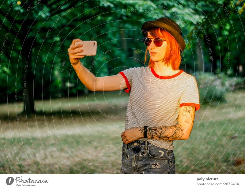 Selfie in the evening sun in the city park - [LS147] Lifestyle Contentment Vacation & Travel Summer Summer vacation Young woman Youth (Young adults) Woman