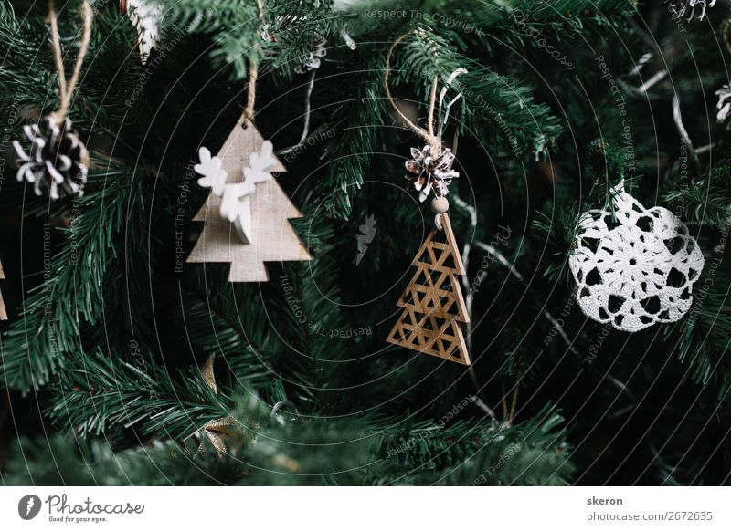 toys and decorations on the Christmas tree Christmas & Advent Beautiful Green Lifestyle Emotions Style Art Playing Exceptional Party Fashion Moody