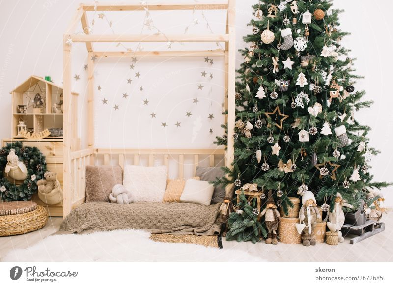Christmas tree with decorations in the children's room Christmas & Advent Beautiful Green House (Residential Structure) Winter Lifestyle Interior design Happy