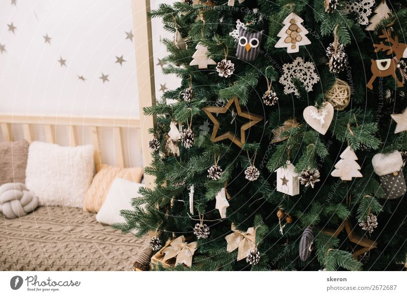 Christmas tree with decorations in the children's room Christmas & Advent Beautiful Relaxation Lifestyle Feasts & Celebrations Style Art Fashion Moody
