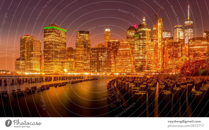 Manhattan skyline at night Architecture blue hour Bridge Brooklyn brooklyn bridge at sunset Building Business City cityscape district Downtown Evening