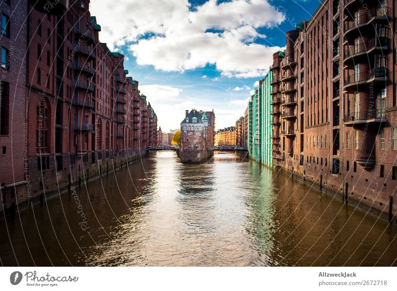 Hamburg Speicherstadt Germany Town Old warehouse district Day Clouds Beautiful weather Channel Storehouse Harbour Trade Deserted City trip Sightseeing