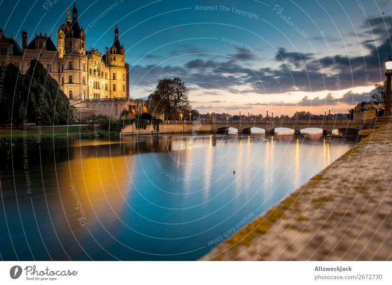 Schwerin Castle at sunset Germany Town Capital city Mecklenburg-Western Pomerania State parliament Politics and state Historic Old town Sunset Dusk