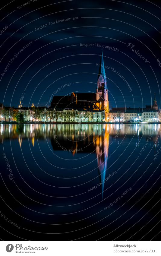 Schwerin Pfaffenteich Reflection Historic Old Town at night Germany Capital city Mecklenburg-Western Pomerania Old building Old town Night Night shot