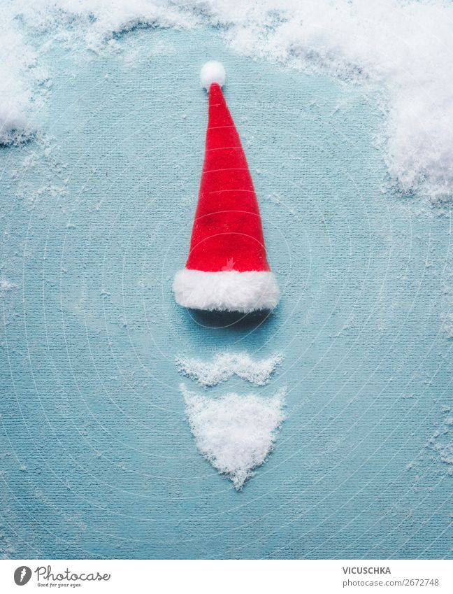 Santa Claus symbol made with snow and Christmas cap Shopping Style Design Joy Winter Party Feasts & Celebrations Christmas & Advent 1 Human being Snow Cap