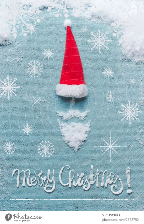 Christmas & Advent Joy Winter Snow Feasts & Celebrations Style Design Decoration Symbols and metaphors Card Santa Claus Text Hipster Santa Claus hat Sale