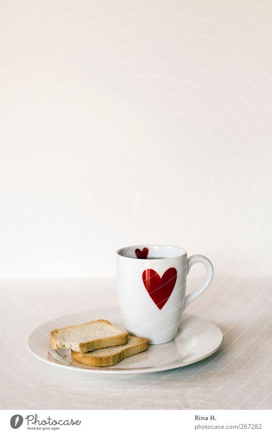 [444] Light food Dough Baked goods zwieback Nutrition Diet Tea Plate Mug Alternative medicine Heart Red White Lack of inhibition gastritis Colour photo