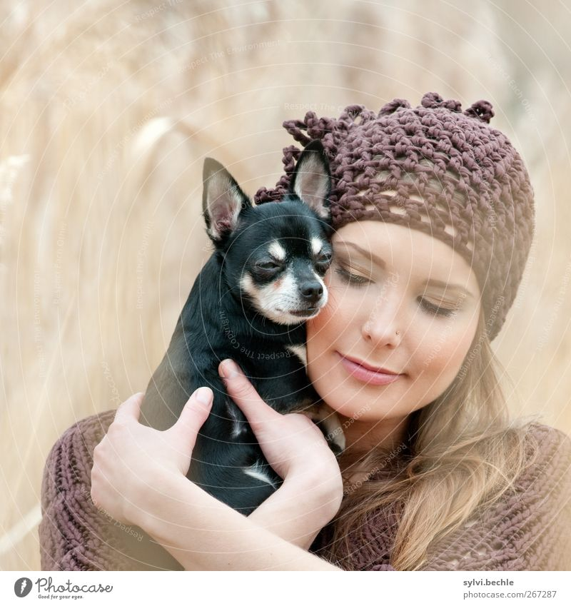 Human being Dog Nature Youth (Young adults) Animal Love Environment Feminine Autumn Emotions Spring Grass Couple Friendship Together Field
