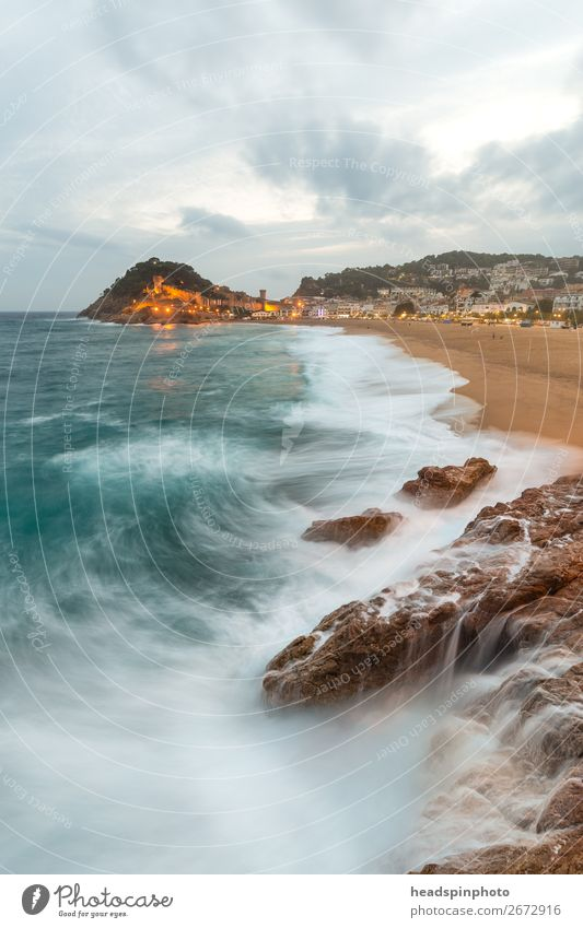 Tossa de Mar and sea, Spain, on a stormy day Vacation & Travel Tourism Trip Landscape Elements Clouds Wind Gale Waves Coast Fishing village Romp Wild Blue