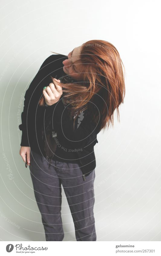 Shake it! Feminine Young woman Youth (Young adults) Hair and hairstyles Red-haired Movement Stand Simple Far-off places Free Eroticism Gray Black Colour photo