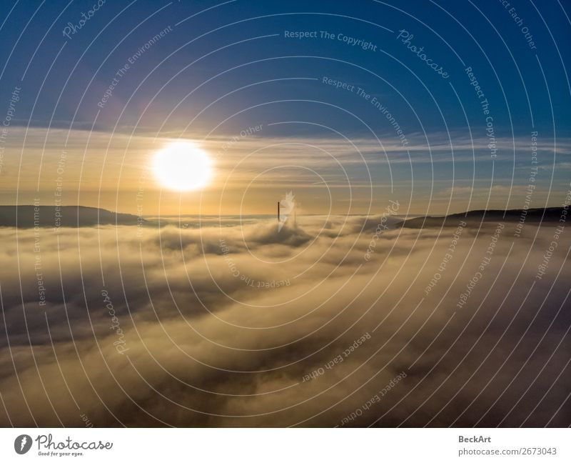 Jena Thuringia above the fog with a view towards Winzerla Vacation & Travel Summer Nature Sky Sky only Clouds Sun Sunrise Sunset Sunlight Autumn Climate Weather