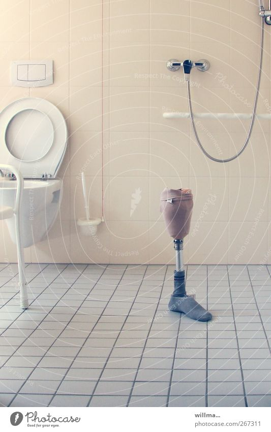 left. prosthetic leg in empty bath Mobility Leg prothesis Disability friendly Prothesis Nursing home Toilet Tile High-maintenance Home for the elderly Sterile