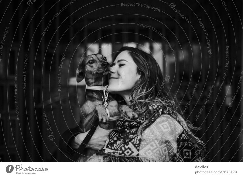Dog and girl portrait Lifestyle Vacation & Travel Human being Young woman Youth (Young adults) 1 30 - 45 years Adults England Europe Animal Pet Kissing Love
