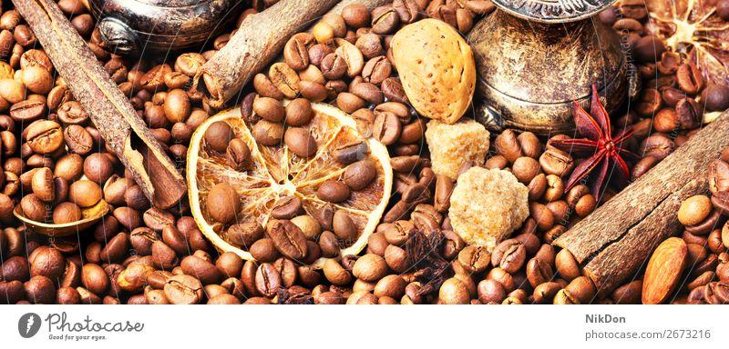 Turkish coffee roasted bean drink caffeine espresso brown seed dark cafe still life sugar aroma cinnamon almonds crop macro grain aromatic arabic taste arabica