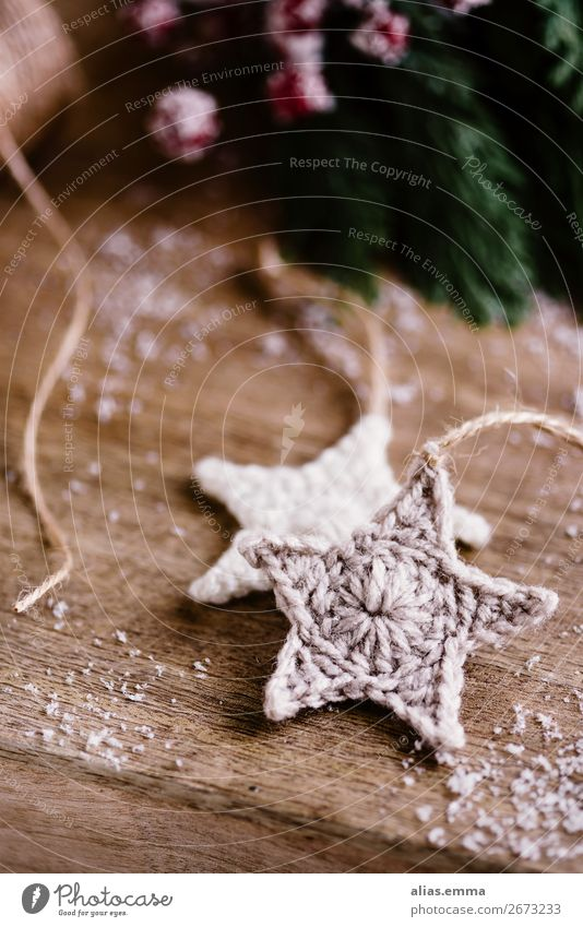 Christmas & Advent Winter Leisure and hobbies Decoration Star (Symbol) Handcrafts Wool December Alternative Christmas decoration Knit Embellish Pendant Crochet