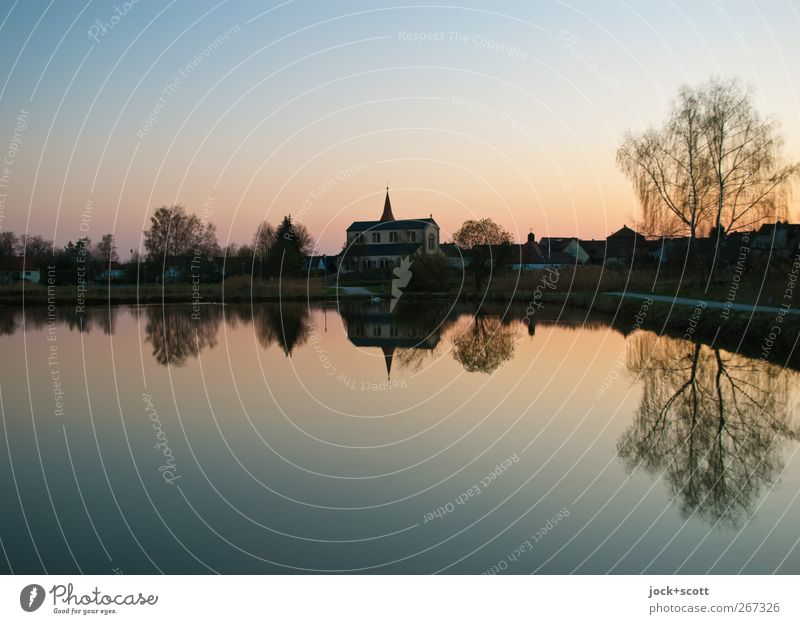Good evening! Manmade landscape Water Cloudless sky Sunrise Sunset Spring Beautiful weather Tree Pond Franconia Small Town Church Church spire Illuminate