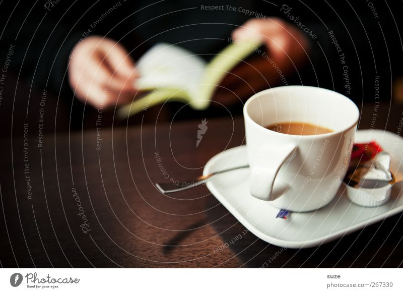 cup of coffee Food Beverage Coffee Cup Spoon Harmonious Well-being Relaxation Calm Leisure and hobbies Reading Table Hand Book Dark Brown Break Know Time Café