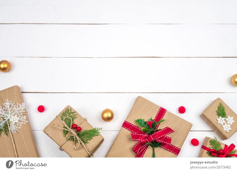 Christmas presents creative layout. Christmas & Advent White Tree Winter Wood Feasts & Celebrations Copy Space Above Design Decoration Vantage point Table