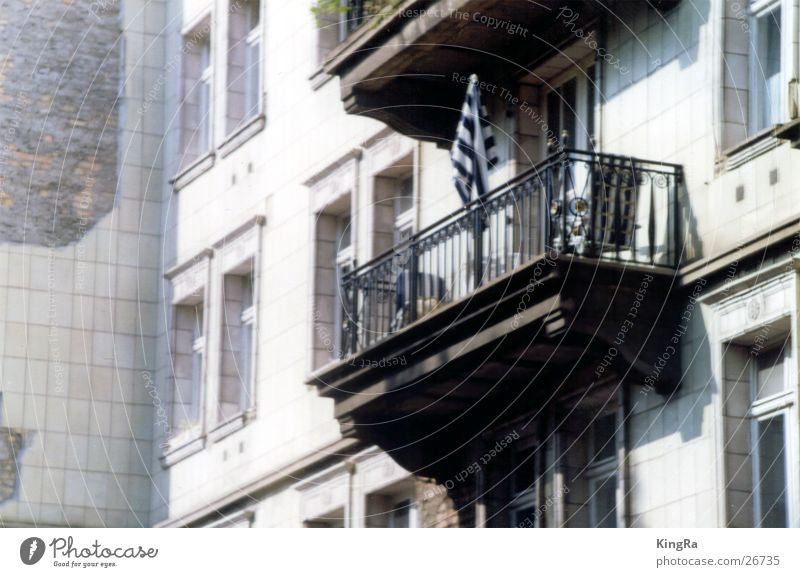 Balcony with umbrella Building Sunshade Window Architecture Berlin