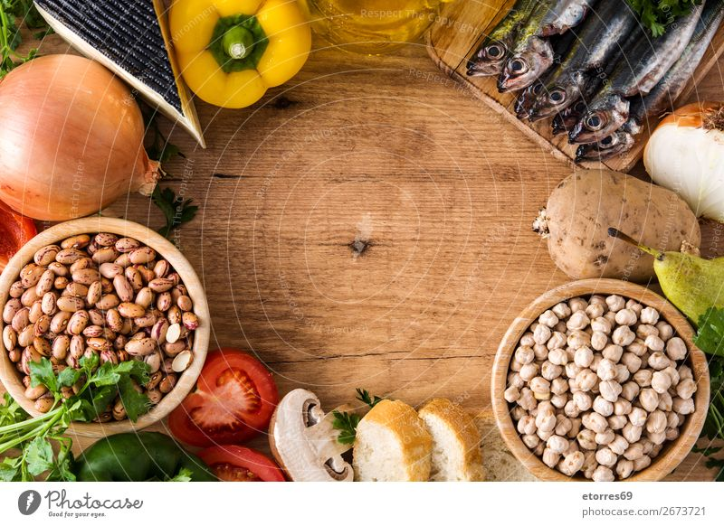 Healthy eating. Mediterranean diet. Fruits and vegetables Mediterranean sea Diet Healthy Eating Food Food photograph Vegetable Fish Grain Nut Olive Oil Table
