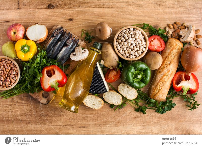 Healthy eating. Mediterranean diet. Fruits and vegetables Diet Healthy Eating Food Food photograph Vegetable Fish Grain Nut Olive Oil Table Wood Vitamin Apple