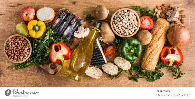 Healthy eating. Mediterranean diet. Fruit and vegetables Mediterranean sea Diet Healthy Eating Food Food photograph Vegetable Fish Grain Nut Olive Oil Table