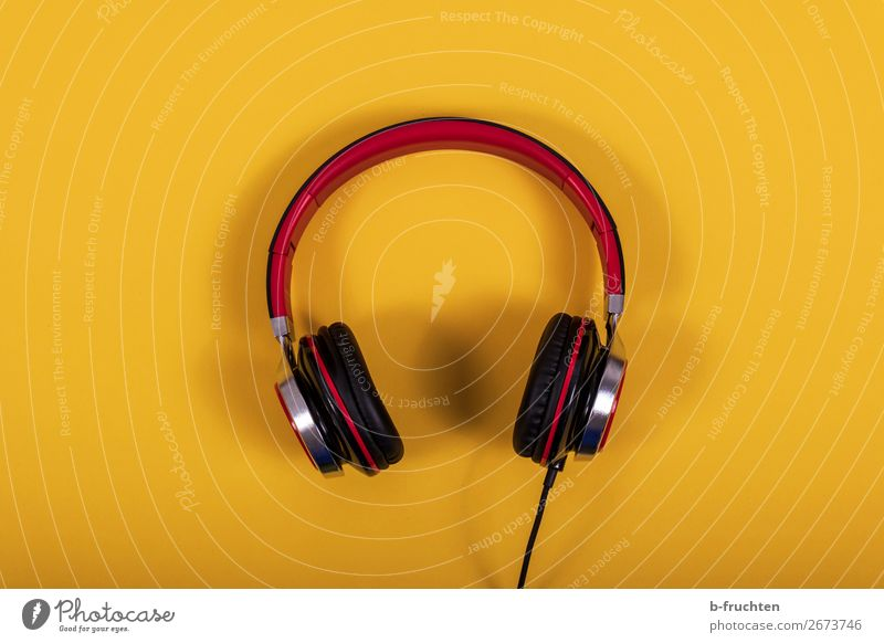 headphones Joy Leisure and hobbies Party Music Lounge Disc jockey Clubbing Entertainment electronics Listen to music Paper Simple Friendliness Yellow Red