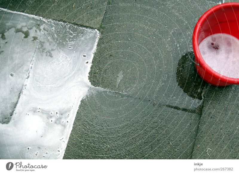 Red Dirty Wet Living or residing Cleaning Clean Pure Services Diagonal Terrace Foam Partially visible Diligent Photos of everyday life Bucket Paving tiles