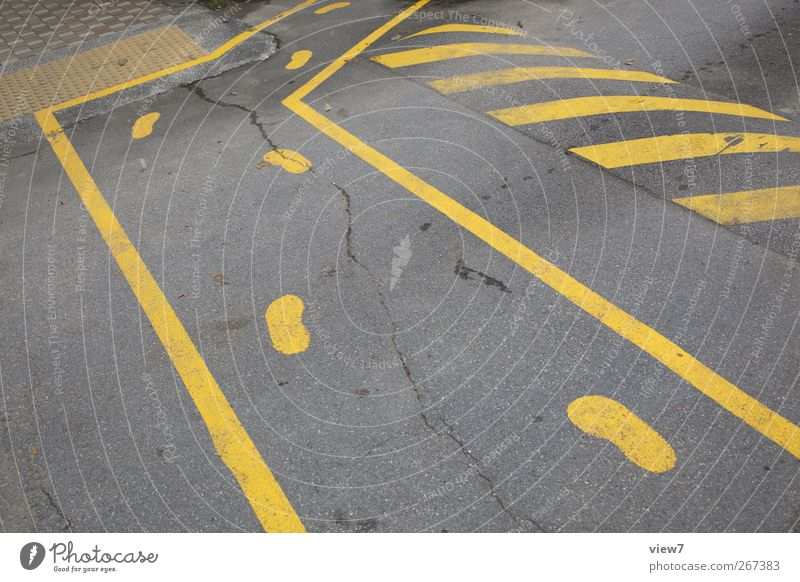 Yellow Street Wall (building) Stone Wall (barrier) Line Healthy Signs and labeling Beginning Concrete Transport Modern Esthetic Authentic Signage Stripe