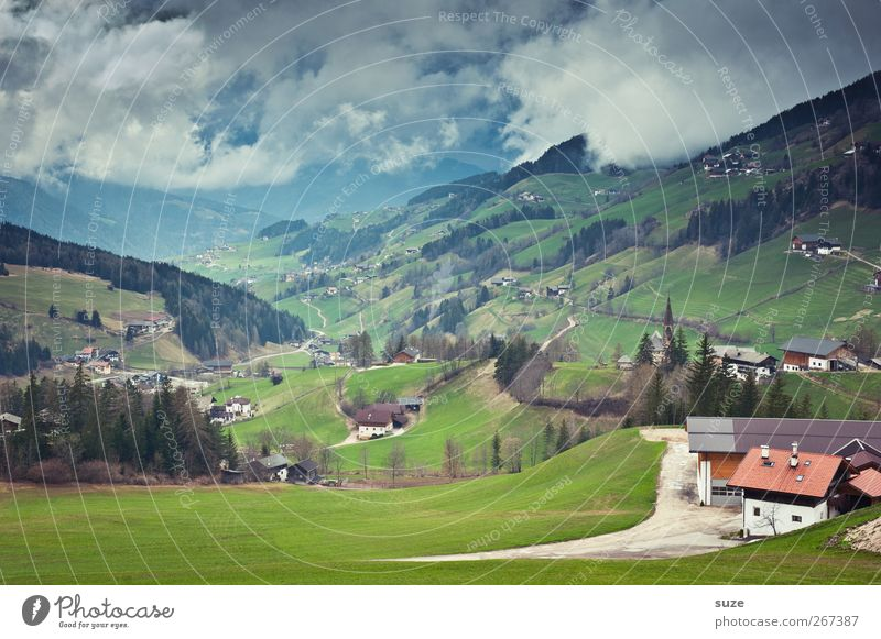 overview Far-off places Summer Mountain House (Residential Structure) Environment Nature Landscape Elements Sky Clouds Climate Beautiful weather Tree Meadow