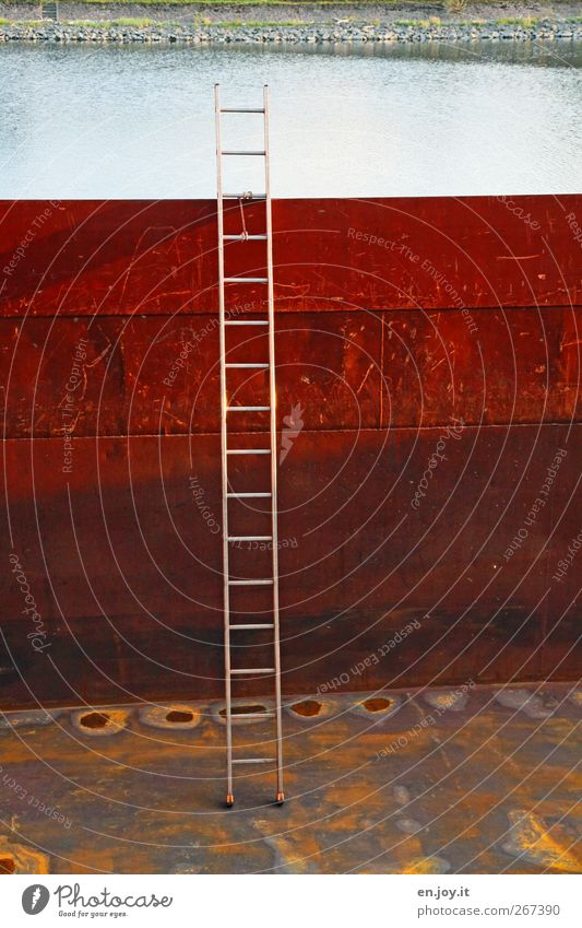 Red Yellow Empty Logistics Harbour Profession Navigation Steel Rust Deep Ladder Container Evening sun Container ship Inland navigation