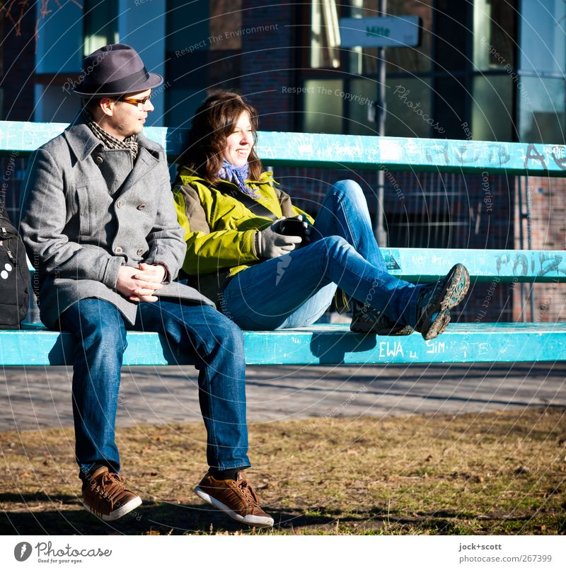 Human being Woman Youth (Young adults) Man Relaxation Joy 18 - 30 years Adults Graffiti Meadow Metal Friendship Together Sit Footwear Happiness