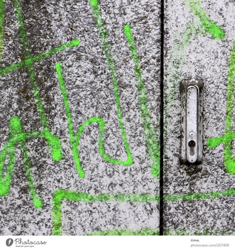Old Green Colour Graffiti Door Dirty Energy industry Characters Technology Sign Whimsical Lock Ornament All-weather Transformer Joke hands
