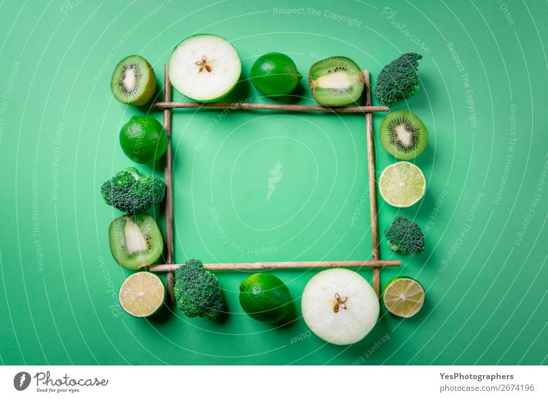 Frame with green fruits and vegetables. Food Fruit Apple Nutrition Organic produce Vegetarian diet Diet Lifestyle Exotic Health care Healthy Eating Kitchen