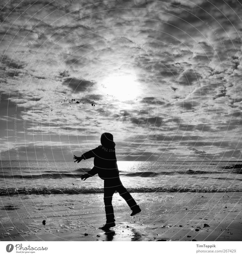 Borkum Bounce #4 Waves Vacation & Travel North Sea coast North Sea Islands North Sea beach East frisian island Sky Clouds in the sky Sunset Playing Throw