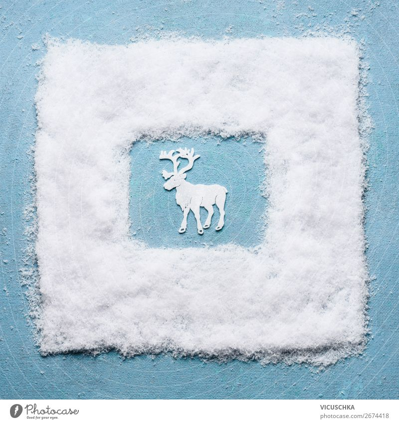 White Christmas stag in a snowy frame Style Design Winter Snow Decoration Feasts & Celebrations Christmas & Advent Tradition Deer Frame Colour photo Studio shot