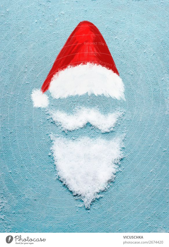 Santa Claus with Snow Beard and Christmas Hat Style Design Winter Decoration Entertainment Party Event Feasts & Celebrations Christmas & Advent Sign