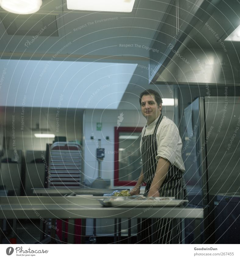 Diego. Work and employment Profession Cook Workplace Kitchen Human being Man Adults 1 Relaxation Wait Authentic Strong Moody Colour photo Interior shot