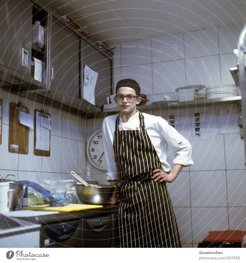 Human being Youth (Young adults) Calm Moody Elegant Authentic Young man Kitchen Profession Passion Workplace Cook Honest Determination Truth Conscientiously