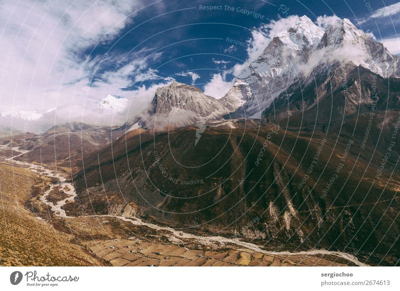 curves and angles Mountain Hiking Environment Landscape Sky Clouds Spring Autumn Winter Climate change Storm Wind Snow Hill Rock Ama Dablam Peak Snowcapped peak