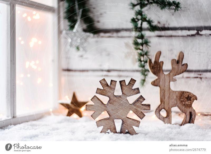 Christmassy, wintery background with free text space Christmas & Advent Background picture Winter Window Card Wood Decoration Vintage Light Blur Snow Snowfall