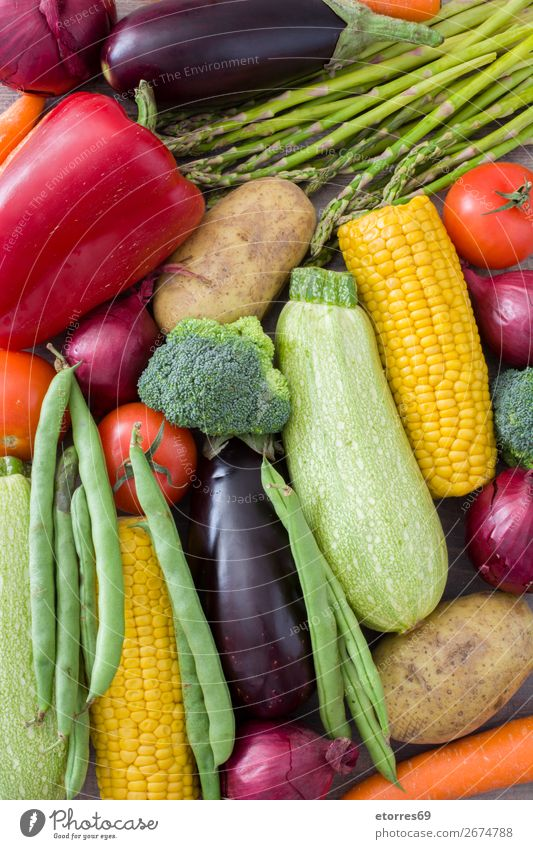 Fruit and vegetables Food Vegetable Nutrition Vegetarian diet Diet Healthy Multicoloured Yellow Green Red Zucchini Tomato Maize Onion Background picture