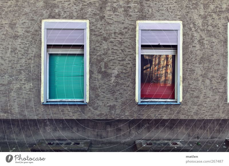 Kiez wink Town Deserted House (Residential Structure) Wall (barrier) Wall (building) Facade Window Roller shutter Green Pink Red White hoisted lower Reflection