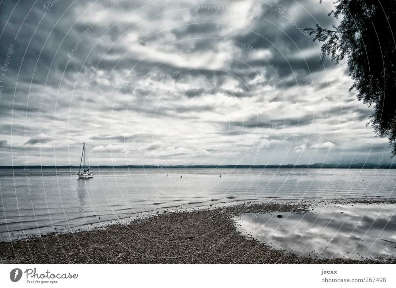 The boat Nature Water Sky Clouds Horizon Summer Autumn Bad weather Thunder and lightning Lakeside Yacht Sailboat Blue Gray Black White Calm Loneliness Idyll